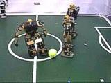 El robonova 1 jugando al futbol.