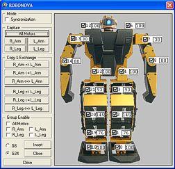 Está utilidad muestra de forma gráfica el valor de los servos del Robonova.