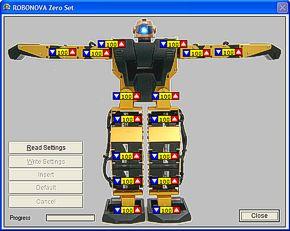 Aplicación para ajustar la posución de reposo del robot.